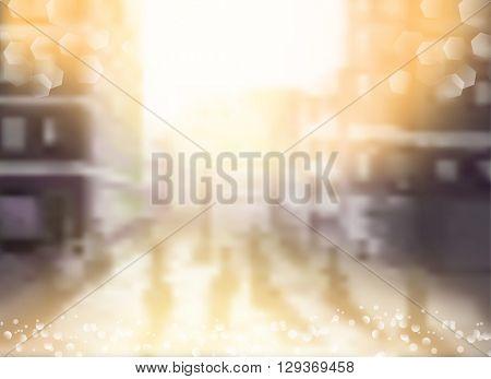 City blurred lights background