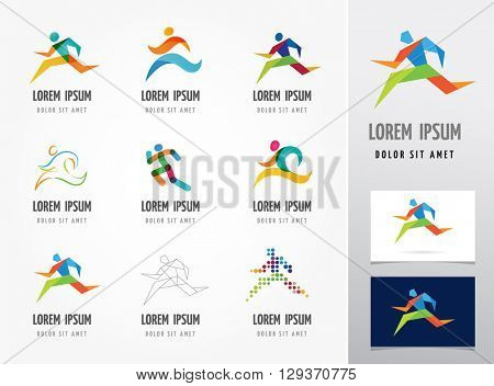 Running marathon, people run, colorful icon set
