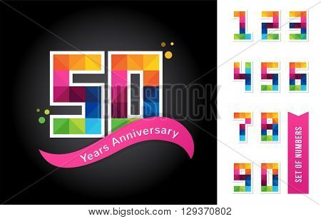 anniversary - abstract colorful icons and elements set