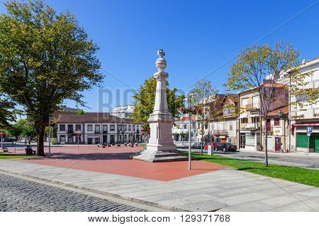 Vila Nova de Famalicao, Portugal.?? September 06, 2015: 9 de Abril Square with the Memorial to the victims of the First World War, in Vila Nova de Famalicao, Portugal.