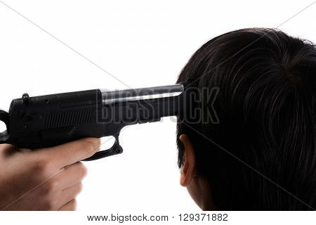 pointing head with gun in hand on a white background