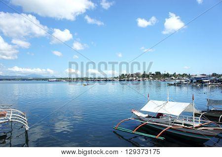 Island Palawan panorama landscape water and blue sky
