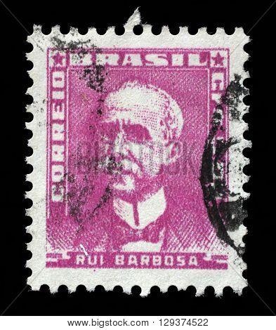 ZAGREB, CROATIA - SEPTEMBER 18: stamp printed by Brazil, shows Ruy Barbosa, circa 1954, on September 18, 2014, Zagreb, Croatia