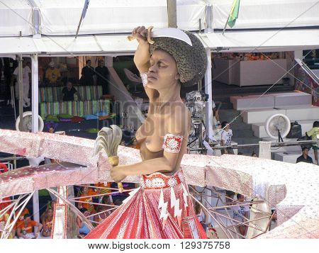 Rio de Janeiro Brazil - February 23: amazing extravaganza during the annual Carnival in Rio de Janeiro on February 23 2009 - topless figure
