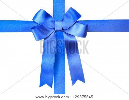 Blue ribbons and bow, isolated on white