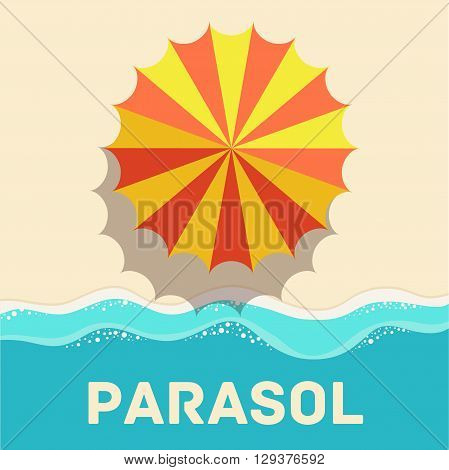 Retro Flat Parasol Icon Concept. Vector Illustration Design