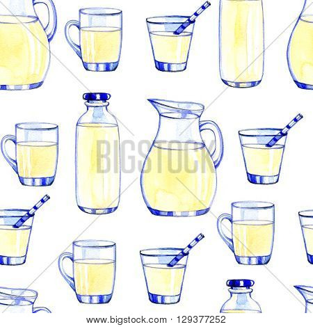 Watercolor Dairy Products pattern on white background