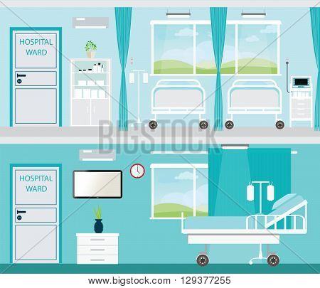 Hospital room with beds and comfortable medical equipped in a modern hospitalinterior vector illustration.