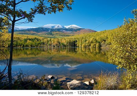 Moncayo peak. With an altitude of 2314 meters is the highest peak in the province of Zaragoza, Parque Natural de la Dehesa del Moncayo, Zaragoza, Aragon, Spain.