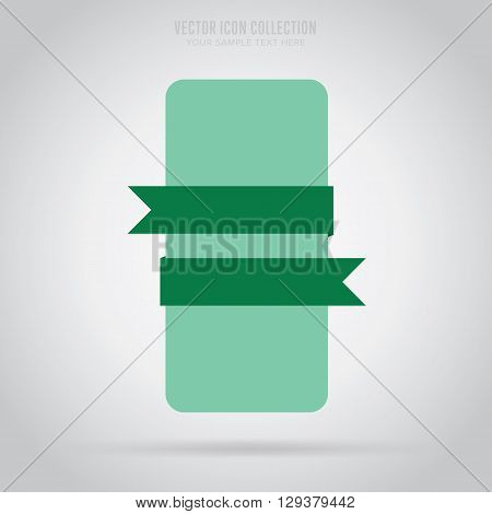 Ribbon isolated vector in flat design style. Colorful abstract ribbon.