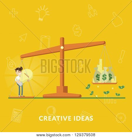 Business concept creative ideas more money flat abstract isolated vector illustration