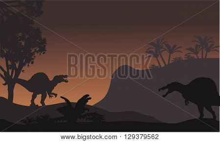 spinosaurus in forest at night scenery with brown backgrounds
