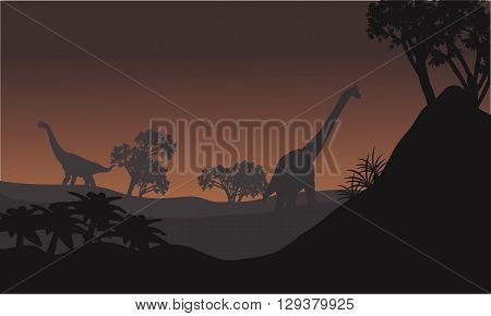 Landscape brachiosaurus at night with brown backgrounds