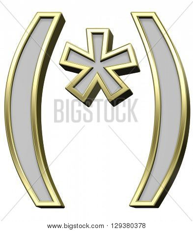 Parenthesis, asterisk from gray with gold frame alphabet set, isolated on white. 3D illustration.