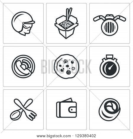 Vector Set of Delivery Icons. Courier, Food, Transport, Order, Pizza, Speed, Cutlery, Payment, Sushi.