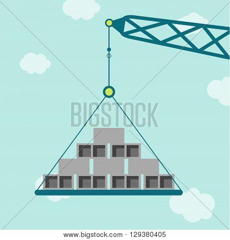 Crane With Concrete Blocks