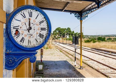 Broken clock in the deactivated train station of Crato. One of the many deactivated stations in the interior of Portugal (Alentejo).