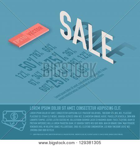 Sale Percent Card Business Vector Background Concept. Illustrati