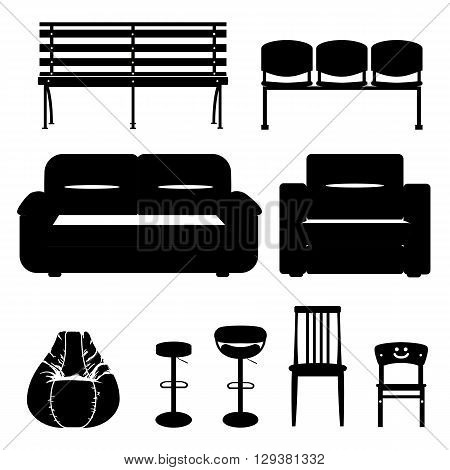 Vector set of silhouette furniture and seat. Black and white illustration of furniture
