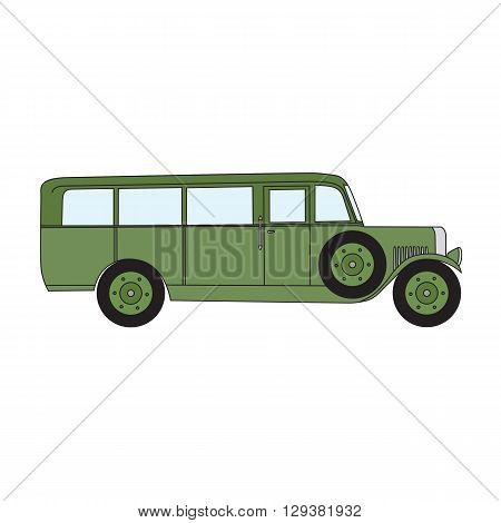 Army green retro bus. Old vintage retro bus. Vector cartoon retro bus. Retro bus with optional spare wheel.