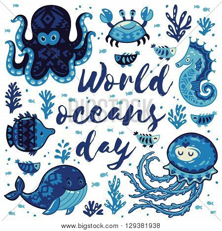 World oceans day. Sea card with whale and jellyfish, fish and crab, seahorse and octopus. Awesome background in white and blue colors. Nautical vector card. Lovely childish card in stylish colors