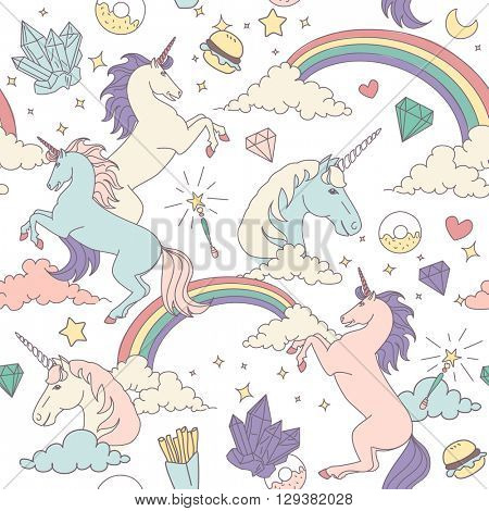Seamless pattern with unicorns, rainbows, stars, clouds and crystals