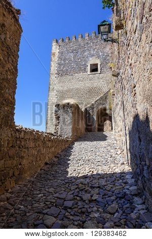 Access ramp to the watchtower of the medieval Castle of Castelo de Vide. Portalegre, Alto Alentejo, Portugal.