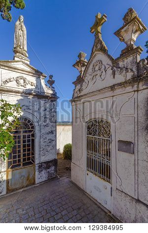 Noble and wealthy people tombs in a typical Catholic cemetery. Portugal.