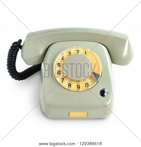 Vintage telephone with rotary dial isolated on white background