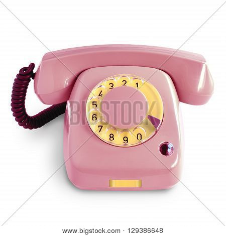 Vintage pink telephone with rotary dial isolated on white background