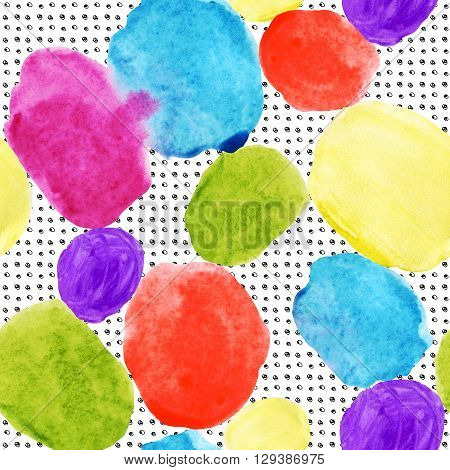 Colorful watercolor stains and grunge texture seamless pattern. Watercolor stain paint splatter. Abstract geometrical round shape grunge grid in 80s 90s design style. Abstract geometry background