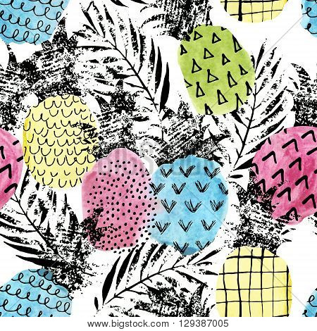 Colorful pineapple with watercolor and grunge texture seamless pattern. Watercolor stain paint splatter. Abstract watercolor pineapple shape grunge palm leaves in pop art style. Summer background