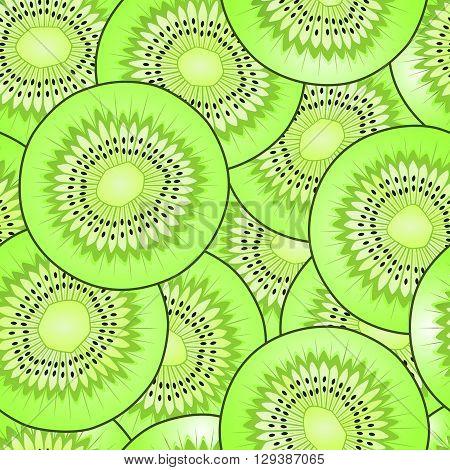 kiwi fruit slice, detailed illustration, seamless vector pattern