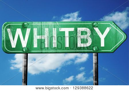 Whitby, 3D rendering, a vintage green direction sign