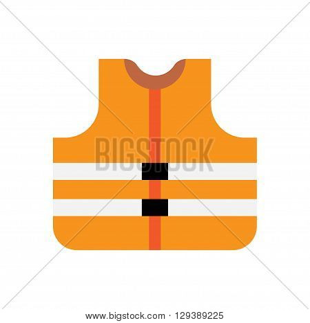 Orange safety vest icon flat style - Vector