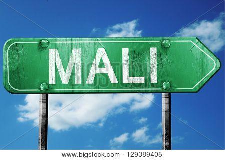 Mali, 3D rendering, a vintage green direction sign