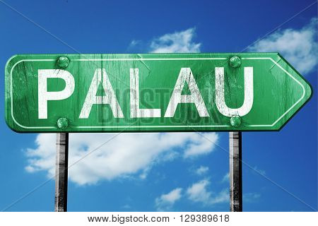 Palau, 3D rendering, a vintage green direction sign