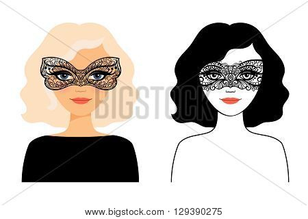 Woman in mask. Face of young woman in lace mask vector illustration