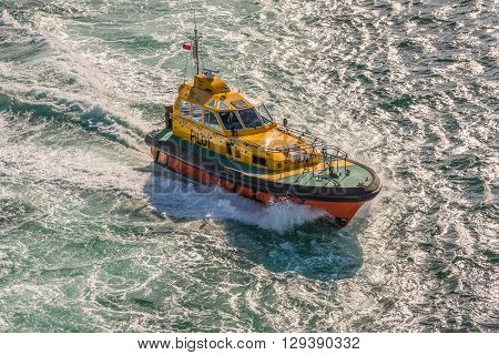 Sydney Australia - November 12 2014: A Port of Sydney pilot boat guiding a cruise ship out of the Sydney Harbour New South Wales Australia.