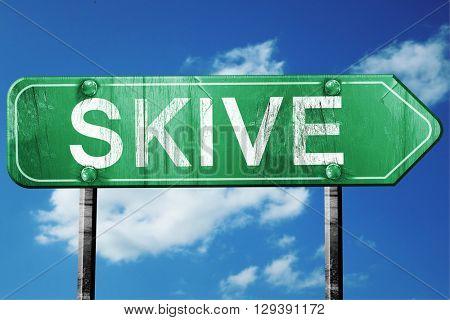 Skive, 3D rendering, a vintage green direction sign