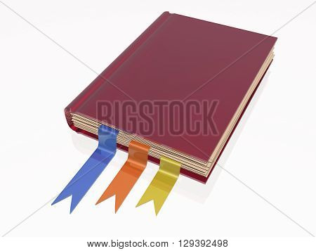 Book with bookmarks on white reflective background, 3D illustration.