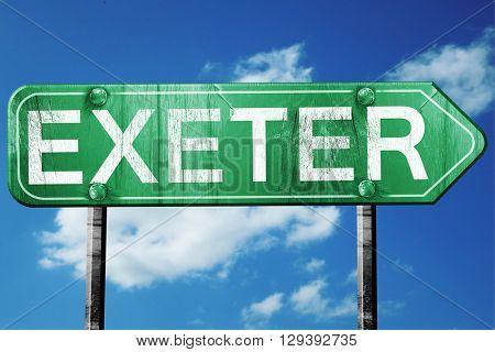 Exeter, 3D rendering, a vintage green direction sign