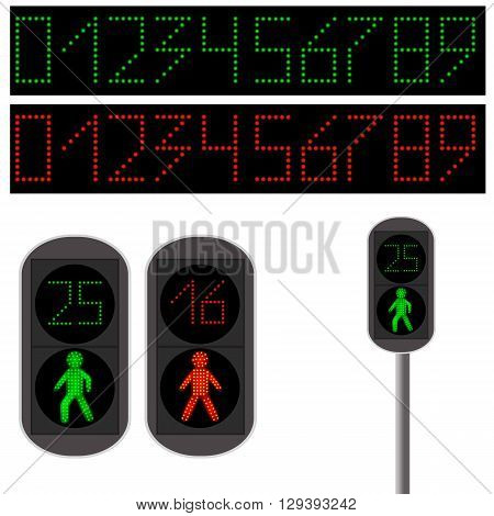 Pedestrian Traffic light. Led backlight. Red and green led digits. Continued movement stop movement. Traffic light for people. The rules of the road. Vector illustration.