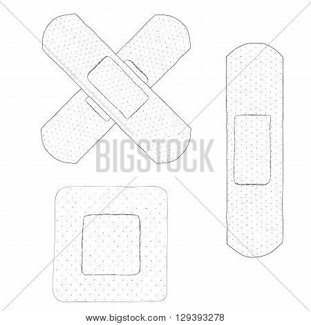 Bactericidal plaster. Doodle sketch. Black and white drawing. Isolated on white. Hand Drawn. The subject of first aid. From first aid kits. Vector illustration.