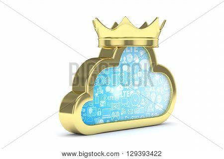 Isolated golden cloud icon with crown on white background. Symbol of communication, network and technology. Broadband. Online database. 3D rendering.