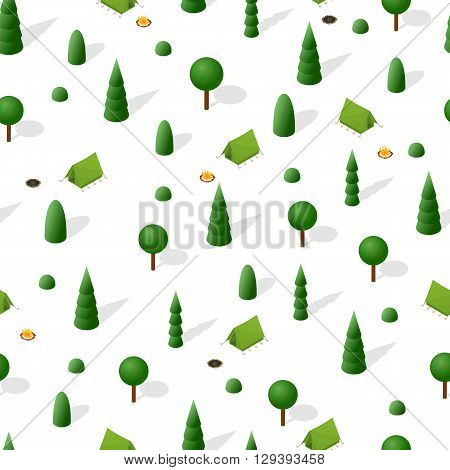 Hiking in the forest. Isometric seamless pattern. Overnight in a tent. A fire in the woods. The nature around. Green trees firs and shrubs. A weekend in nature. Vector illustration