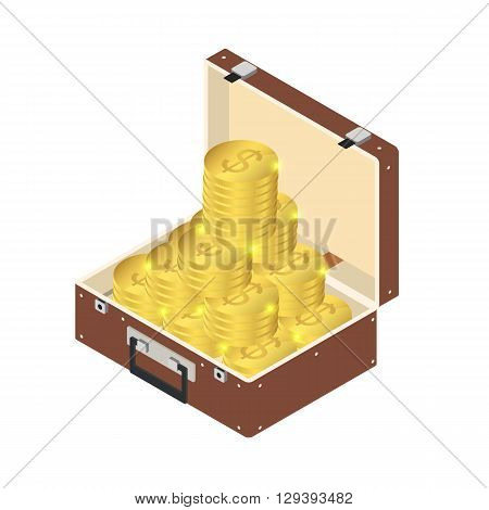 A suitcase full of gold. A lot of gold coins in a suitcase with a handle in the isometric. The wealth and luxury. Yellow coin. Vector illustration.