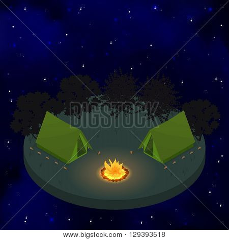 Two tents around the campfire. Flat isometric. Starry sky. Night bonfire. Camping. Weekend in the woods. Sleep in tents. Vector illustration.