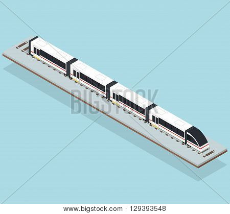 Intercity fast train. Flat isometric. Transportation underground. Passenger transport. Travel and tourism by train. Rails and high-speed train. Vector illustration.