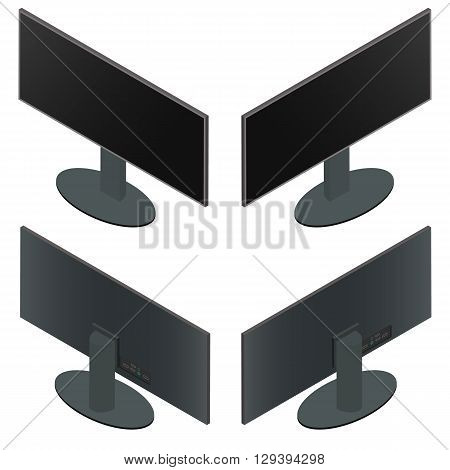 Ultra wide monitor. Flat isometric. The front and back sides. Black monitor on a stand. Large screen. Computer components. Isolated on white background. Vector illustration.